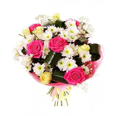 A83 MIXED BOUQUET WITH ROSES AND CHRYSANTHEMUMS