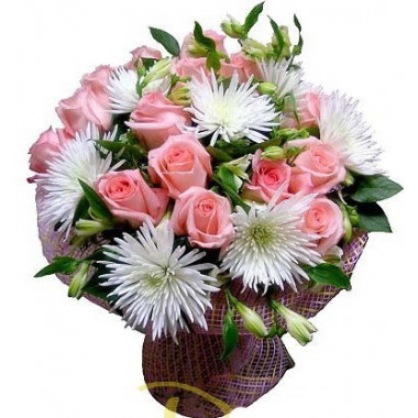 A30 MIXED BOUQUET WITH WHITE CHRYSANTHEMUMS AND ROSES