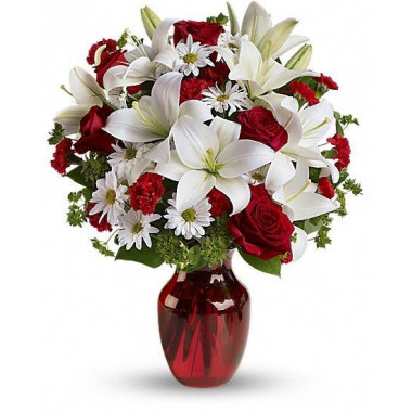 A12 MIXED BOUQUET OF ROSES AND LILIES