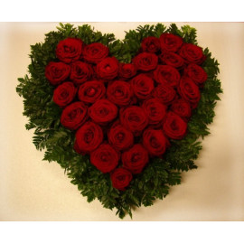 S10 FLOWER ARRANGEMENT HEART WITH RED ROSES AND GREENERY