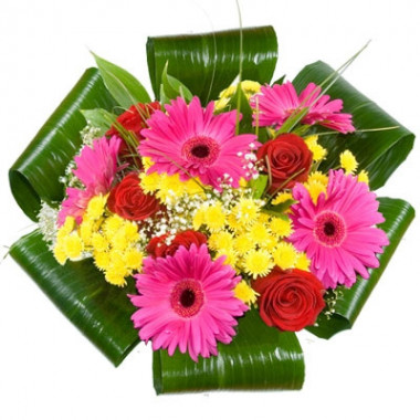 A70 MIXED BOUQUET OF GERBERA, ROSE AND CHRYSANTHEMUM