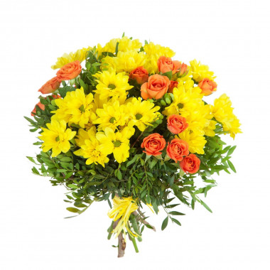 A28 MIXED BOUQUET OF ROSES AND CHRYSANTHEMUMS