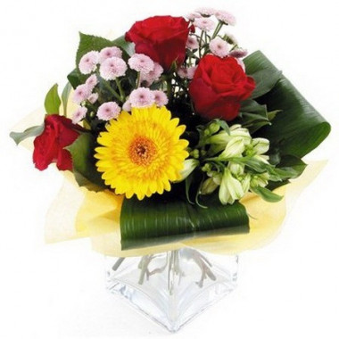 A65 MIXED BOUQUET OF GERBERA, ROSE AND CHRYSANTHEMUM
