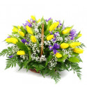 K11 FLOWER ARRANGEMENT WITH YELLOW TULIPS AND IRISES