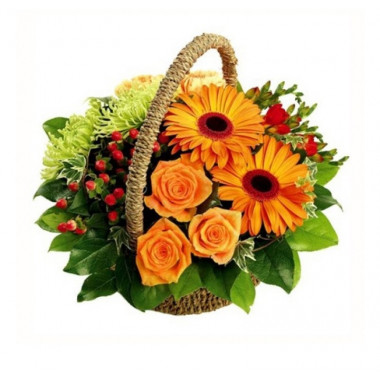 K19 FLOWER BASKET WITH GERBERAS AND ROSES
