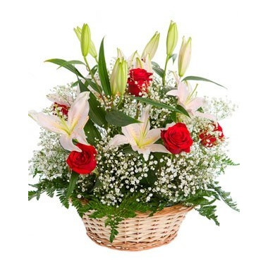 K14 FLOWERS BASKET WITH LILIES AND ROSES