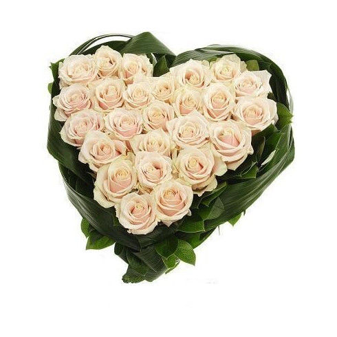 S4 FLOWER ARRANGEMENT  HEART WITH WIHTE ROSES