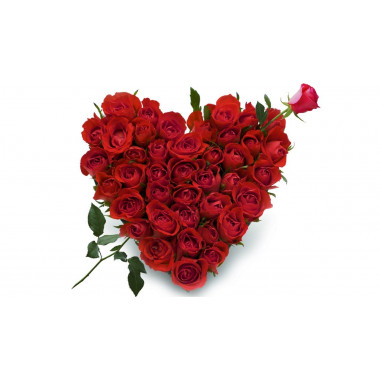 S11 FLOWER ARRANGEMENT HEART WITH RED ROSES