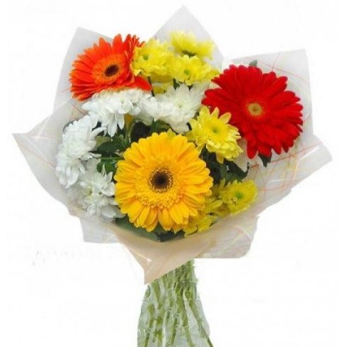 A71 MIXED BOUQUET WITH CHRYSANTHEMUMS AND GERBERAS
