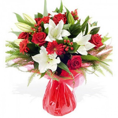 A79 MIXED BOUQUET WITH ROSES,LILIES AND GERBERAS