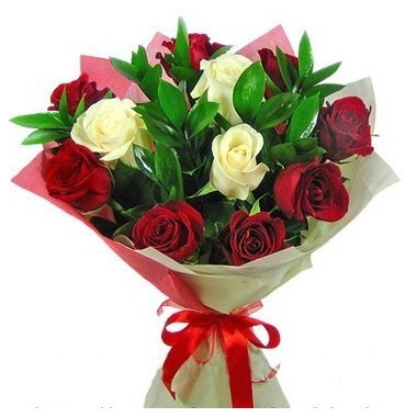 A50 BOUQUET OF RED AND WHITE ROSES