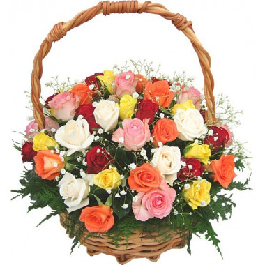 K28 MIX ROSES IN BASKET