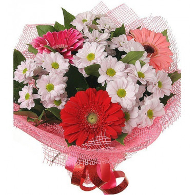 A24 MIXED BOUQUET WITH GERBERAS AND CHRYSANTHEMUMS
