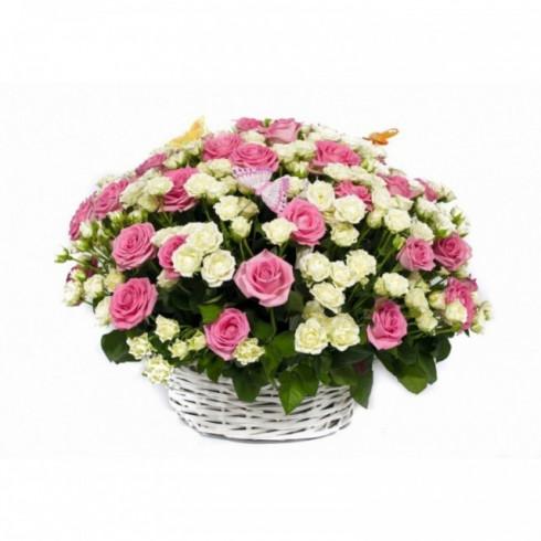 K12 FLOWER BASKET WITH SHRUB ROSES