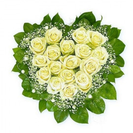 S9 FLOWER ARRANGEMENT HEART WITH  WHITE ROSES AND GYPSOPHILA