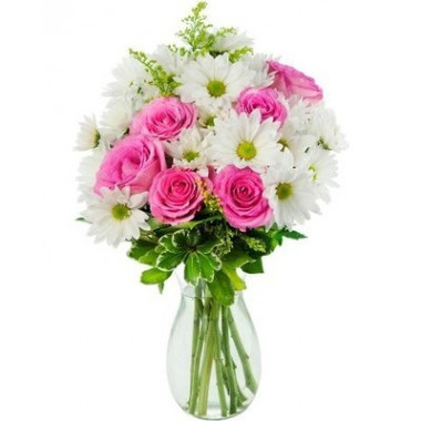 A27 MIXED BOUQUET OF ROSES AND CHRYSANTHEMUMS