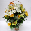 K23 FLOWER BASKET WITH ROSES AND LILIES