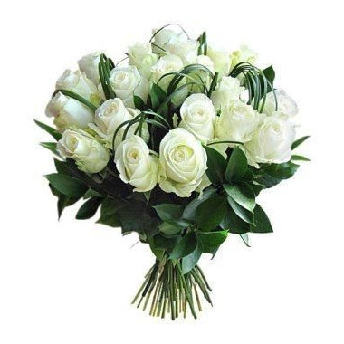 A6 BOUQUET OF 19 WHITE ROSES