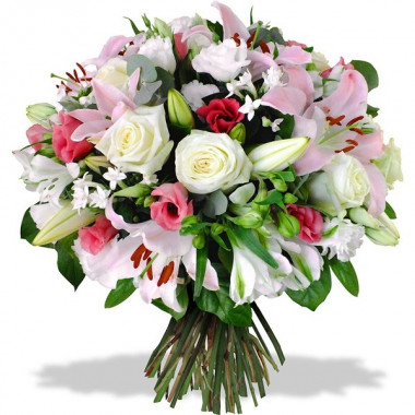 A29 MIXED BOUQUET OF ROSES, LILY AND ALSTROMERIA