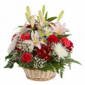 K30 FLOWER ARRANGEMENT WITH  ROSES , CHRYSANTHEMUMS ANDLILIES