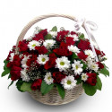 K31 FLOWERS BASKET WITH CHRYSANTHEMUMS AND ROSES