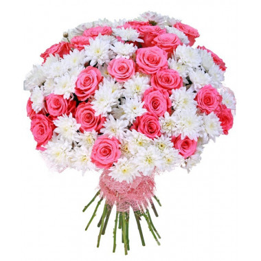 A105 MIXED BOUQUET OF ROSES AND CHRYSANTHEMUMS