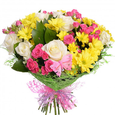 A107 MIXED BOUQUET WITH ROSES AND CHRYSANTHEMUMS