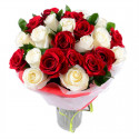 A108 BOUQUET OF RED AND WHITE ROSES