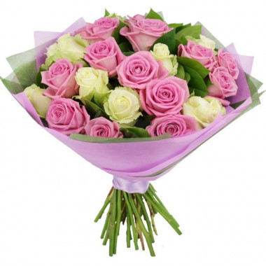 A110 MIX BOUQUET WITH WHITE AND PINK ROSES