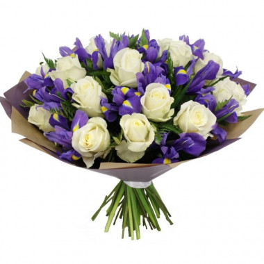 A113 BOUQUET WITH ROSES AND IRISES