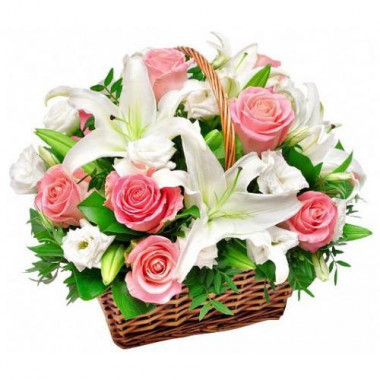 K34 FLOWER BASKET WITH ROSES AND LILIES