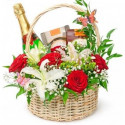 P1 BASKET WITH ROSES, LILY, MARTINI ASTI, CANDY AND CHOKOLATE