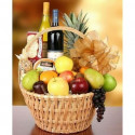 P11 BIG FRUIT BASKET WITH CHEESE AND WINE /RED AND WITHE/