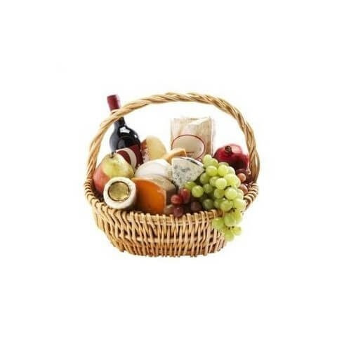 P6 GOURMET BASKET WITH DIFFERENT CHEESE, FRUITS AND WINE