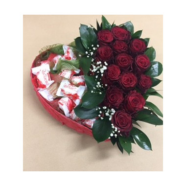 S14 FLOWER ARRANGEMENT WITH RAFFAELLO AND RED ROSES